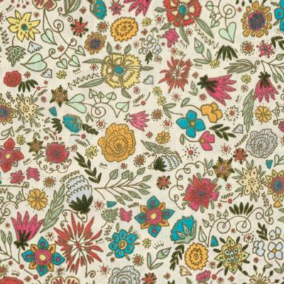 Pamutvászon tarkabarka virágok krém alapon