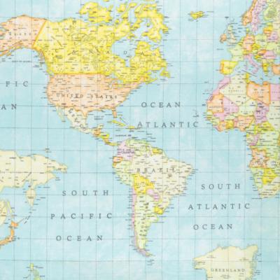 Pamutvászon térkép kék alapon