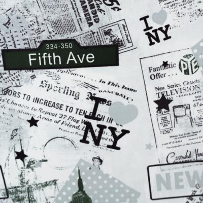 Pamutvászon újságmintás new york fekete fehér