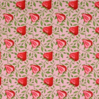 Pamutvászon fehér alapon piros eprek