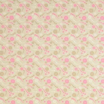 Pamutvászon gyöngysor virággal drapp-rózsaszín
