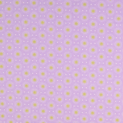 Pamutvászon kör-virág lila-sárga