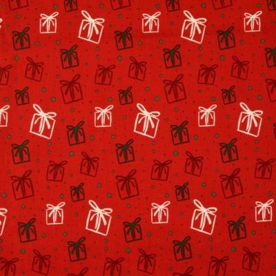 Pamutvászon karácsonyi ajándékdobozok piros alapon