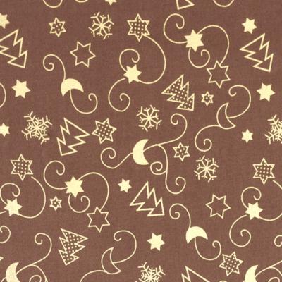 Pamutvászon karácsonyi arany fenyő-inda mintás barna