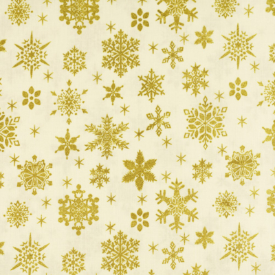 Pamutvászon karácsonyi arany hópihék krém alapon