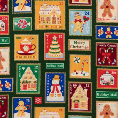 Pamutvászon karácsonyi bélyegek zöld alapon