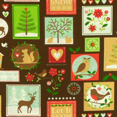 Pamutvászon karácsonyi képecskék barna alapon