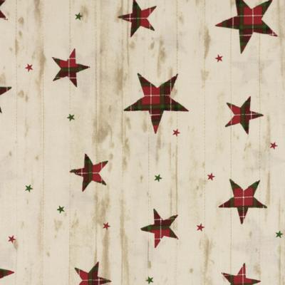 Pamutvászon karácsonyi kockás csillagok famintás bézs alapon