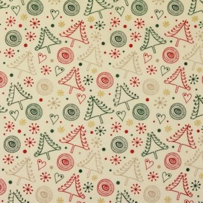 Pamutvászon karácsonyi kócos fenyők fehér alapon