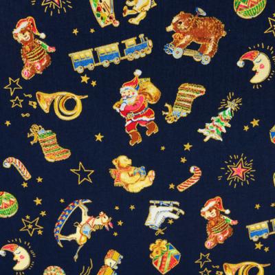 Pamutvászon karácsonyi motívumok kék alapon