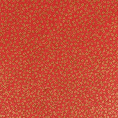 Pamutvászon karácsonyi sűrű arany csillagvirágos piros alapon