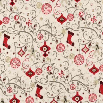 Pamutvászon karácsonyi szürke piros indamintás fehér alapon