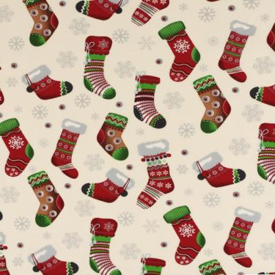 Pamutvászon karácsonyi zoknik fehér alapon
