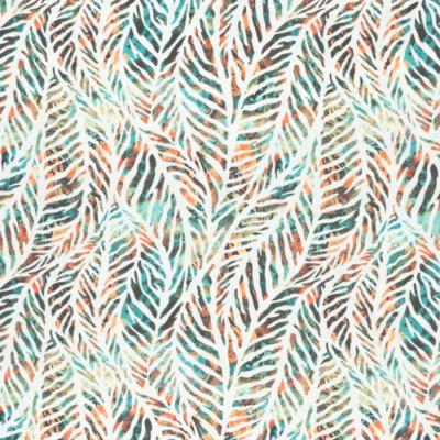 Lonetta vászon levélerezet zöld-korall