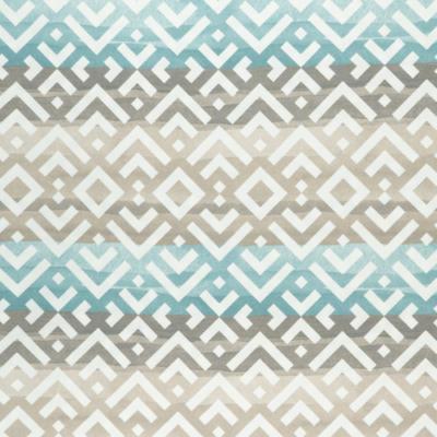 Lonetta vászon türkiz-natúr geometrikus minta